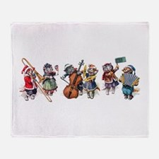 Jazz Cats In the Snow Throw Blanket