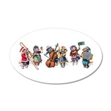 Jazz Cats In the Snow 22x14 Oval Wall Peel