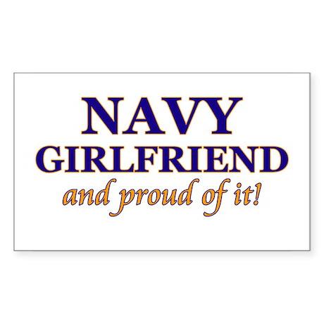 Navy Girlfriend & proud of it Sticker (Rectangular