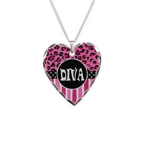 Pink Cheetah Diva Necklace Heart Charm