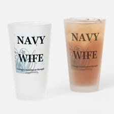 NavyWifeStars Drinking Glass