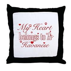 Havanese Dog Designs Throw Pillow