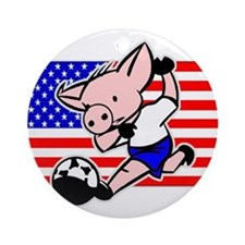 USA Soccer Pigs Ornament (Round)