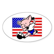 USA Soccer Pigs Oval Decal