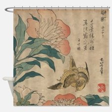 Hokusai Peony and Canary Shower Curtain