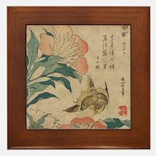 Hokusai Peony and Canary Framed Tile