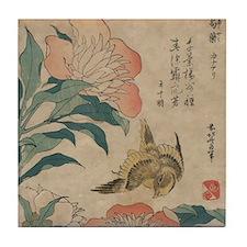 Hokusai Peony and Canary Tile Coaster