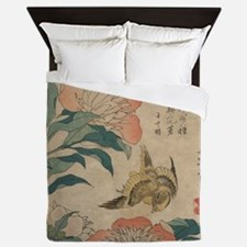 Hokusai Peony and Canary Queen Duvet