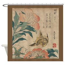 Hokusai Peony and Canary Shower Curtain