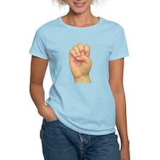 ASL Letter E Women's Pink T-Shirt
