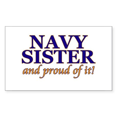Navy Sister & proud of it Rectangle Sticker