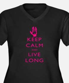 Keep Calm and Live Long Pink Women's Plus Size V-N