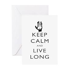 Keep Calm and Live Long Black Greeting Card
