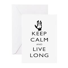 Keep Calm and Live Long Black Greeting Cards (Pk o