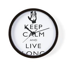 Keep Calm and Live Long Black Wall Clock
