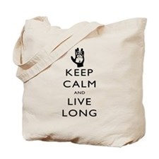 Keep Calm and Live Long Black Tote Bag