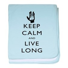Keep Calm and Live Long Black baby blanket