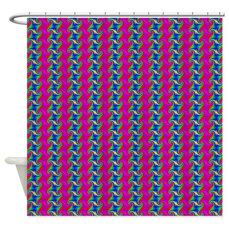 Multi Color Swirl Squares Shower Curtain By Decorativestuff