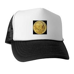 Black-Gold Indian Head Trucker Hat