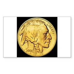 Black-Gold Indian Head Rectangle Decal