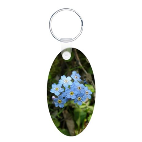 Forget-Me-Not #01 Aluminum Oval Keychain