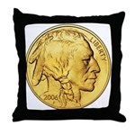 Gold Indian Head Throw Pillow