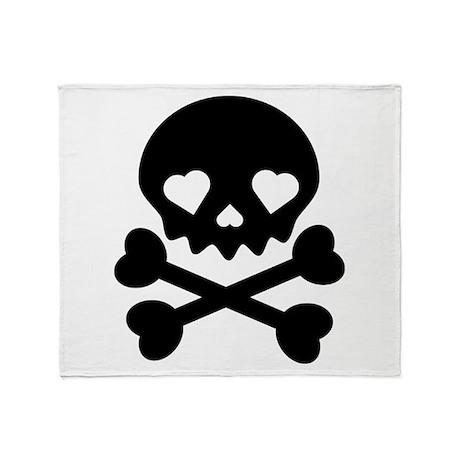 Black Heart Skull Throw Blanket