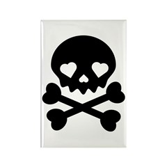 Black Heart Skull Rectangle Magnet (10 pack)