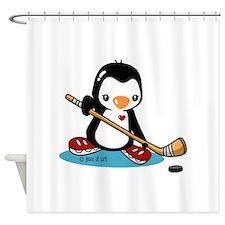 Popo Plays Ice Hockey Shower Curtain