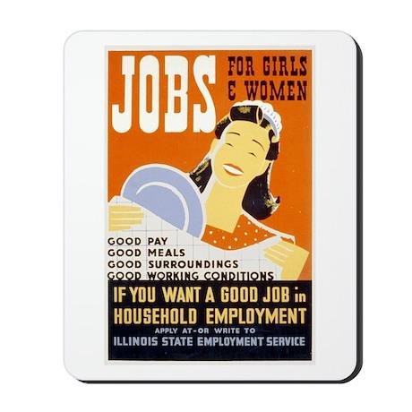 Jobs For Girls WPA Poster Mousepad