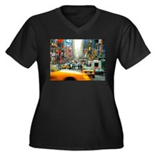 Times Square: No. 10 Women's Plus Size V-Neck Dark