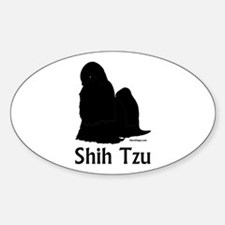 Shih Tzu Silhouette Sticker (Oval)