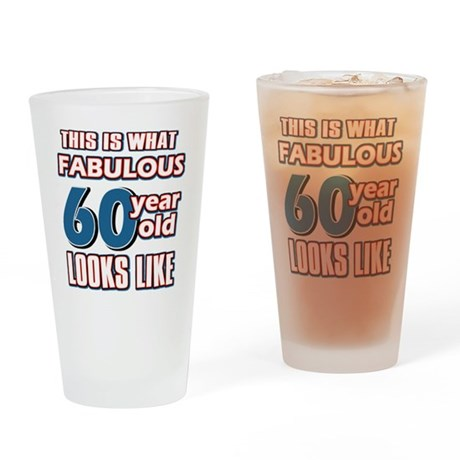 Cool 60 year old birthday designs Drinking Glass