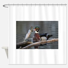 Woodduck and Wood Shower Curtain