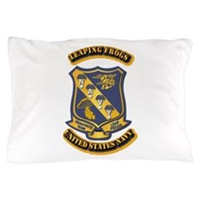US - NAVY - Leaping Frogs Pillow Case