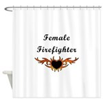 Female Firefighter Flames Shower Curtain