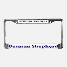 German Shepherd Furry Kid License Plate Frame