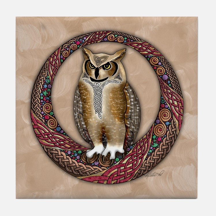 Celtic Owl Tile Coaster