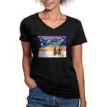 XmasSunrise/2 Airedales Women's V-Neck Dark T-Shir