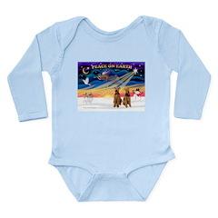 XmasSunrise/2 Airedales Long Sleeve Infant Bodysui