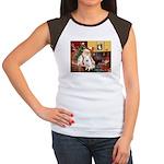Santa's Eskimo Spitz Women's Cap Sleeve T-Shirt