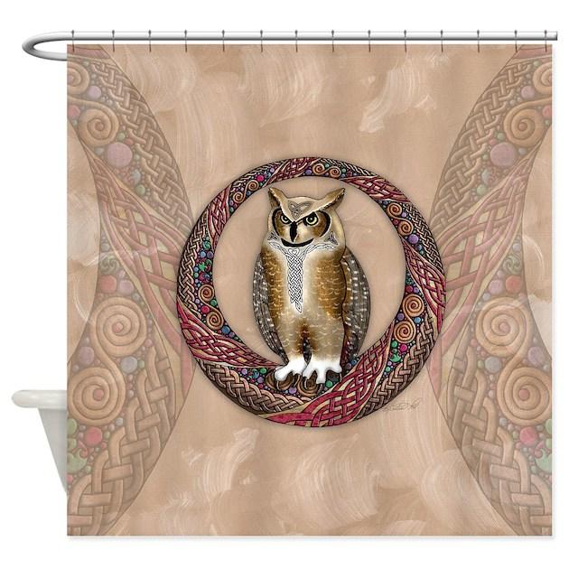 Celtic Owl Shower Curtain By Artoffoxvox