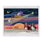 Xmas Star & 2 Bassets Throw Blanket