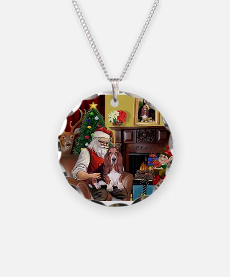 Santa's Basset Hound Necklace Circle Charm