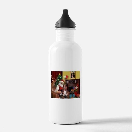 Santa's Basset Hound Water Bottle