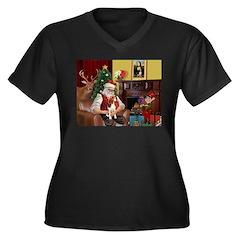 Santa's Beagle Women's Plus Size V-Neck Dark T-Shi