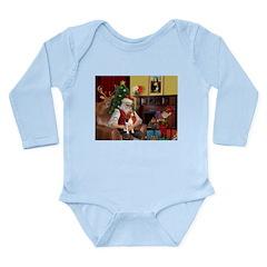 Santa's Beagle Long Sleeve Infant Bodysuit