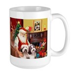 Santa's Beardie pair Large Mug
