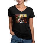 Santa's Home & Bernese Women's V-Neck Dark T-Shirt
