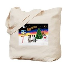 XmasSigns/2 Border Collies Tote Bag